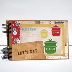 Using a Collection Kit by Carta Bella - create your own custom DIY Recipe Book - perfect for gift giving this season. Cookbook Recipes, Cookbook Ideas, Arts And Crafts, Paper Crafts, Scrapbook Pages, Scrapbooking, Crafty Projects, Recipe Cards, Mini Books