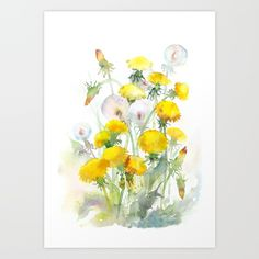 Watercolor, yellow, flowers, dandelions, dandelion, blowball, floral, watercolor flowers, yellow flowers
