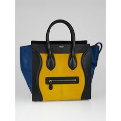Pre-owned Celine Tricolor Pony Hair and Leather Mini Luggage Tote Bag ($1,845) ❤ liked on Polyvore featuring bags, handbags, tote bags, celine tote, celine handbags, leather tote purse, tote handbags and leather tote bags