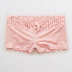 Aerie Shine Boyshort + XO Lace ($13) ❤ liked on Polyvore featuring intimates, panties, pink, boyshort panties, lace boy short panties, lace boyshort panties, boy shorts panties and shiny panties