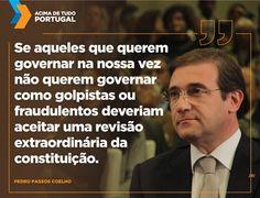 Passos Coelho pede revisão constitucional extraordinária para dissolver Assembleia #acimadetudoportugal