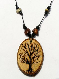Art necklace with wood burned tree in winter. by DaureenGaylDesigns @ Etsy.com