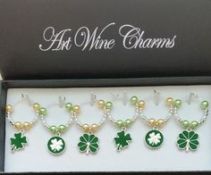 6 Shamrock themed Wine Charms, St. Patrick's Day, St. Paddy's Day, Four Leaf Clover, Irish,Party Decorations,Wine Charms,Shamrocks,Irish…