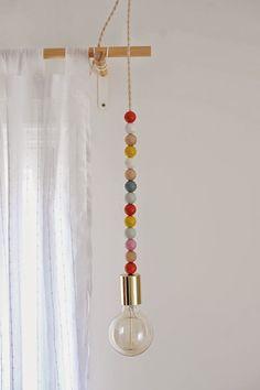 DIY Wooden Bead Pendant Light