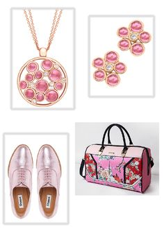 Pink tourmaline set in rose gold, earrings and matching pendant. Shoes by Dune. Bag by River Island.