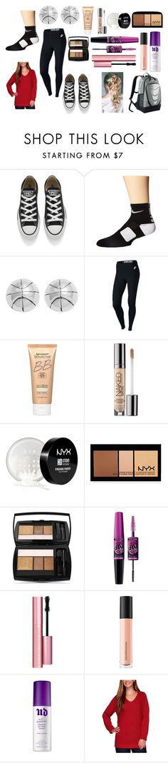"""Basketball Games"" by graciswank on Polyvore featuring Converse, NIKE, Journee Collection, Miracle Skin Transformer, Urban Decay, NYX, Lancôme, Maybelline, Too Faced Cosmetics and Bare Escentuals"