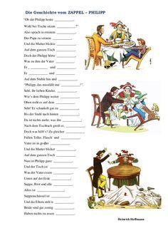 Der ZAPPEL - PHILIPP  von Heinrich Hoffmann Eine Geschichte aus dem Struwwelpeter Reime einsetzen Arbeitsblatt zur gleichnamigen PPt-Präsentation Hoffmann, Childhood Memories, History