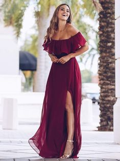 Women's Off Shoulder Ruffle Thigh Split Bridesmaid Dresses - Bridesmaid Dresses Holiday Chiffon Off the Shoulder Side Split – Ever-Pretty US Source by - Romantic Bridesmaid Dresses, Off Shoulder Bridesmaid Dress, Burgundy Bridesmaid Dresses Long, Bridesmaid Dresses With Sleeves, Bridesmaid Dress Styles, Burgundy Dress, Wedding Bridesmaid Dresses, Off Shoulder Long Dress, Bridesmaids