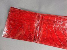 New Handmade Genuine Red Alligator/Crocodile Premium Skin Hipster Wallet 4