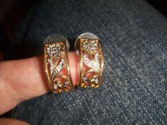 Gorgeous gold over sterling silver .925 Diamond Semi Hoop Earrings