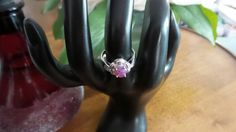 Sterling Silver ring with pink Fire Opal, size 7. by FierStaarGems on Etsy