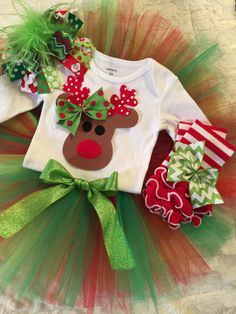 Christmas Moose outfit Christmas onesie by MelleeAndMeBows on Etsy