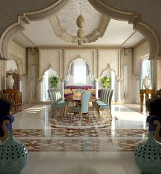 A beautiful Oriental style inspired dining room with the richness of Arabic design.  #dining_room #mouhajer_international_design #oriental_style #arabic_design #interior_design #furniture #luxury_brands #business_bay #MyDubai #VIP #UAE