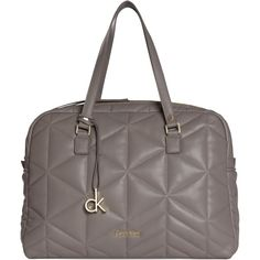 Calvin Klein Nora Quilted Duffle Bag, Grey (785 SAR) ❤ liked on Polyvore featuring bags, handbags, grey purse, grey handbags, duffle bag, quilted tote bag and quilted purse