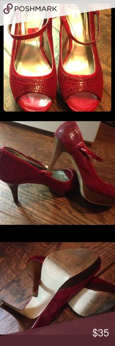 Red platform peep toe heels Super comfortable and like new except some slight worn marks on soles.  This sexy heel is perfect for Sunday best, slinky nights, or anything in between.  Heels in excellent condition. Style & Co Shoes Heels