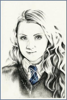Harry Potter Fan Art: Luna Lovegood drawing by Jenny Jenkins Harry Potter Sketch, Saga Harry Potter, Harry Potter Drawings, Harry Potter Characters, Harry Potter Memes, Harry Potter World, Luna Lovegood, Scorpius And Rose, Harry Potter Painting