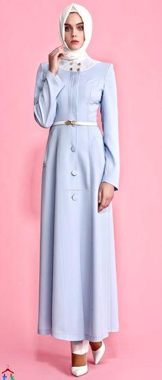 Açık Mavi Yazlık Pardesü | Armine | Setrms | Kayra | Aker | Alvina Muslim Fashion, Modest Fashion, Hijab Fashion, Hijab Dress, Hijab Outfit, Hijab Chic, Muslim Women, The Dress, Party Dress