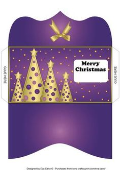 Buttons Christmas Trees Money Wallet purple on Craftsuprint - Add To Basket!
