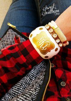 Monogrammed Bangle Golden Dream Bracelet and plaid <3  #monogram #monogrammed #monogramjewelry #jewelry #plaid #boutique #etsy