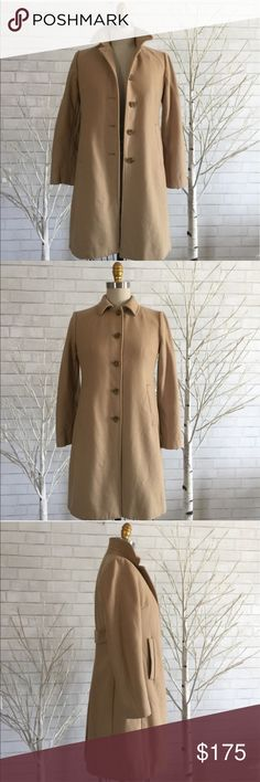 Banana Republic XS camel Wool Fitted Coat This classic coat is so amazing, fits perfectly to the body to keep your shape. Soft and warm and an absolutely must have in every wardrobe.   Size is XS (runs big) perfect on a size 6-8 see measurements for perfect fit.  Shell is 80% wool, 20 Nylon, lining is acetate .  Retail at $328 plus tax. Lining needs to ironed. But it's perfect.   Ⓜ️chest 36 Ⓜ️length 34 Ⓜ️sleeves 23   ✅Bundle and save  ✅🚭 ✅ all reasonable offers will be considered 🚫No…