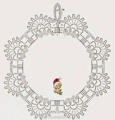 The scheme of knitting Christmas potholders - crochet snowflakes Crochet Christmas Ornaments, Crochet Snowflakes, Christmas Knitting, Christmas Wreaths, Christmas Crafts, Crochet Potholders, Crochet Motif, Crochet Doilies, Crochet Flowers