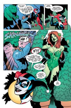 """funnypages: """"Stay away from her girlfriend."""" Harley Quinn - Harleen Quinzel - Poison Ivy - Pamela Isley - DC Comics"""