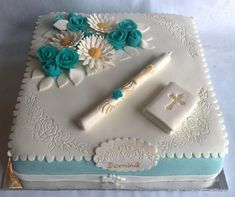 Sheet Cake Designs, First Holy Communion Cake, Foto Pastel, Dairy Free Chocolate Cake, Gift Box Cakes, Religious Cakes, Confirmation Cakes, Square Cakes, Unique Cakes