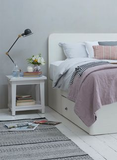Loaf's Woody storage bed painted in vintage white with handy drawers for small spaces