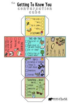 Getting To Know You Counseling Conversation Cube Icebreaker Dice Freebie Elementary School Counseling, School Social Work, School Counselor, Elementary Schools, Counseling Activities, Therapy Activities, Group Counseling, Counseling Office Decor, Emotions Activities