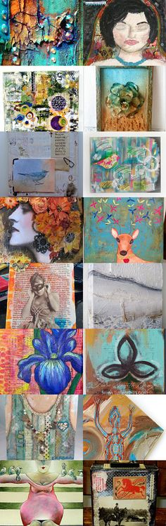 Absolutely Gorgeous Mixed Media Canvases! by Kati on Etsy--Pinned with TreasuryPin.com