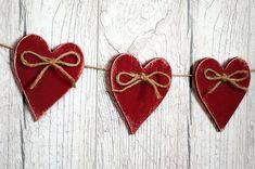 Valentines Day Decor Valentines Day Banner Wooden Heart Garland Deep red Wedding Decor Set of 12 #valentinesday #valentinesdecor #affiliate