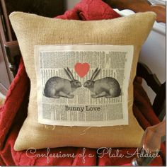 Vintage Bunny Love Valentine Pillow - CONFESSIONS OF A PLATE ADDICT