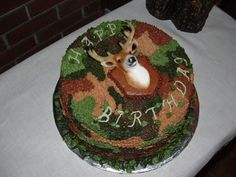 Camouflage Cake - The deer head is a magnet purchased at a cake decorating store. + cute for bunco party