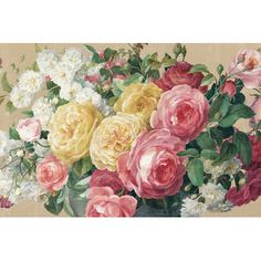 """East Urban Home Antique Roses In Zoom by Danhui Nai Painting Print on Wrapped Canvas Size: 26"""" H x 40"""" W x 0.75"""" D"""