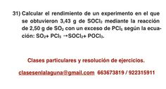 Ejercicio 31. Tema: Rendimiento (reacciones químicas)