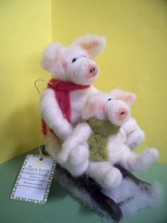 Pig and Piglet on Sled Needle Felted Wool Ornament