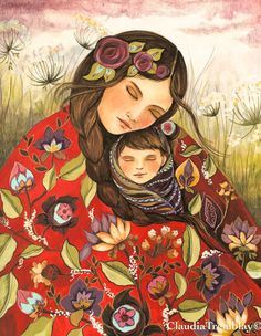 Mother and child in red quilt  ORIGNAL art by claudiatremblay