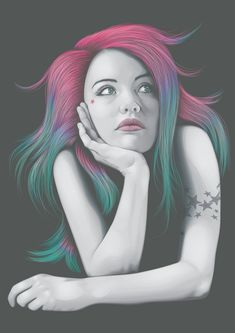 Four Colours In Her Hair by ChewedKandi.deviantart.com on @deviantART. This one looks very soft and I love how they did all the colors in the hair. It looks very realistic.