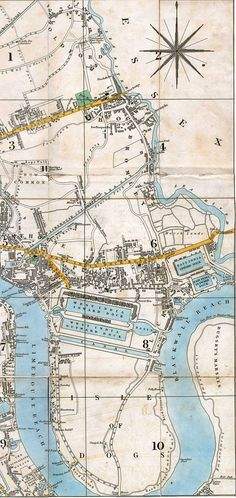 """George Frederick Cruchley's 1831 """"New Plan of London"""" London Map, London Museums, Old London, London City, East End London, Essex London, Uk History, British History, Family History"""