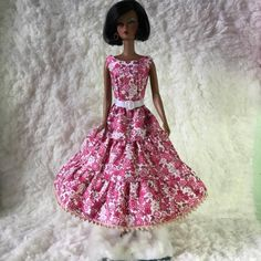 Fashion Royalty Blue Flower Evening Dress Gown Clothes For 11.5 inch Doll