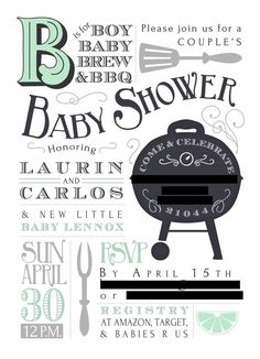 Motherhood Unfiltered Baby shower baby-Q invitation. Mint Baby Shower, Baby Shower Gift Basket, Baby Shower Vintage, Boy Shower, Baby Shower Games, Baby Q Invitations, Invitation Baby Shower, Outdoor Baby, Baby Sprinkle