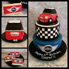 Mini cooper inspired cake Mehr Mini Cooper Cake, Car Themed Parties, Mini Copper, Truck Cakes, 30th Party, 2nd Birthday, Birthday Cakes, Delicious Cake Recipes, Cupcake Cakes