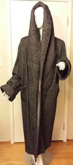 Vintage, Norma Kamali, Charcoal Gray, Hooded, Full-length, Wool Boucle Coat (Size Med) #NormaKamali