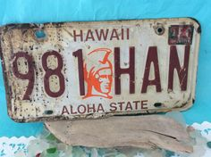 Hawaii License Plate - Kamehameha - Aloha State - Hawaiian Warrior Face - truck license - 1980s - collectible - man cave decor by TheWhatNaught on Etsy