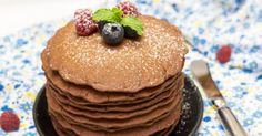 Recette de Pancakes diététiques au cacao. Facile et rapide à réaliser, goûteuse et diététique. Ingrédients, préparation et recettes associées.