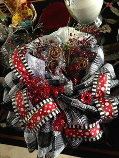 checkered christmas wreath