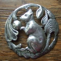 Large Antique Art Nouveau Carved Sterling Silver Squirrel Brooch Pin