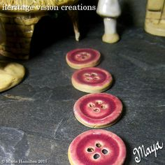 Fairy Garden Stepping Stones Set #94 | Round Stoneware Buttons, Set of 4, Dark Raspberry Pink  | Fairie Garden Accessory by HeritageVision on Etsy