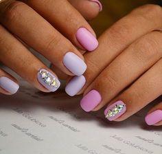 Аккуратный маникюр, Акцент на безымянном пальце, Безумно красивый маникюр, Бело-розовые ногти, Голубой матовый маникюр, Двухцветный маникюр на короткие ногти, Декор для маникюра, Зимние ногти