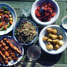 BBQ chicken kebabs, beetroot carrot and apple salad, quinoa tabbouleh
